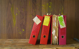 Messy file folders, grungy style Stock Photo