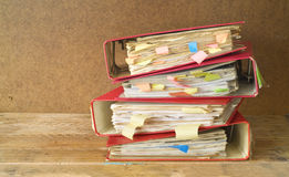 Messy file folders with old documents, free copy space Stock Photo