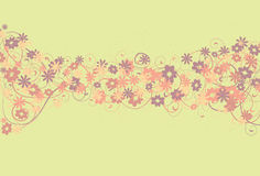Messy Floral and Swirl Background. Spots, top flowers, bottom flowers, thin swirls and thick swirls are all on separate layers stock illustration