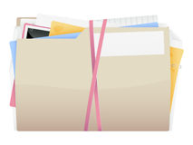 Messy Folder Icon. An illustration of a rather disorganized folder icon bound by rubber bands Stock Photo