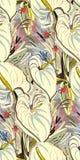 Messy garden flower paint pattern  textured royalty free illustration