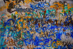 Messy graffiti metal wall Royalty Free Stock Photos