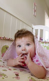 Messy Hair Baby In Crib - 6 Months old Royalty Free Stock Photos