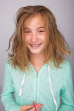 Messy hair and braces Stock Photo