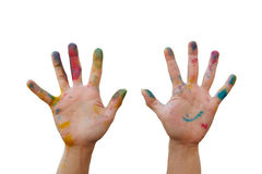 Messy hand with colour Royalty Free Stock Photography