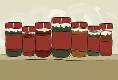 Messy hand drawn collection of spice bottles. Collection of messy, hand drawn spice bottles lined up with copy space on labels. Outlines, color fill, paint stock illustration