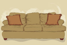 Messy hand drawn couch. Illustrated messy styled hand drawn couch. Lineart, pillows, shading, fill and background elements are all on separate layers. Easy to royalty free illustration