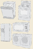 Messy hand drawn home appliances. Collection of messy hand drawn home appliances. Each item fill and outlines are on separate layers vector illustration
