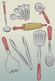 Messy hand drawn kitchen items Stock Photos