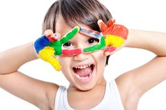 Messy hands, childhood Stock Images