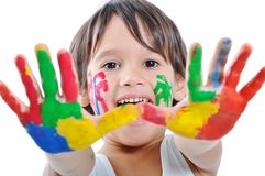 Messy hands, childhood royalty free stock photos