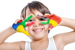 Messy hands, childhood. Very happy Stock Photos