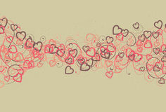 Messy Hearts and Swirl Background. Spots, top hearts, bottom hearts, thin swirls and thick swirls are all on separate layers stock illustration