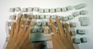 Messy keyboard royalty free stock photography