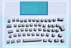 Messy keyboard. Keys from a computer keyboard arranged in a messy pattern with monitor graphics overlayed royalty free stock images