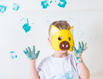 Messy kid painting Royalty Free Stock Photos
