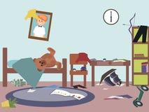 Messy kids room funny vector cartoon. Messy kids room - funny vector cartoon illustration Royalty Free Stock Photos