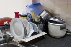 Messy Kitchen. Tray Stock Image