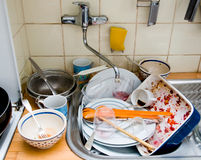 Messy kitchen sink Stock Photos