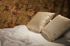 Messy luxurious bed with pillow. And quilt cover Royalty Free Stock Photo
