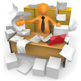Messy Office. Businessman trying to make some space on his messy office Royalty Free Stock Images