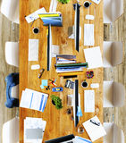 Messy Office Meeting Table No People Concept Royalty Free Stock Image