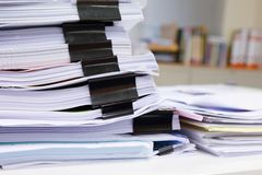 Messy office table royalty free stock photos