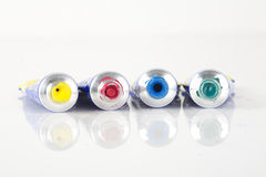 Messy paint tubes Royalty Free Stock Images