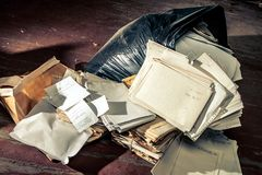 Messy place with plastic bag Stock Photo