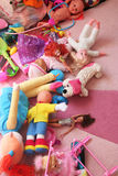 Messy play room. And toys on carpet Royalty Free Stock Images