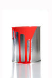 Messy red paint pail Stock Image