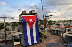 Messy rooftop with cuban flag Stock Photo