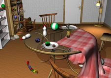 Messy room with toys and baby bottles. Messy room, glass table with upturned baby bottles, toys and plates, chairs lying around 3D illustration Stock Photography