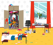 Messy room where young lady lives. Teenager or student girl untidy room. Cartoon mess in the room Stock Image