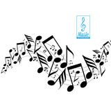 Messy Scattered Music Notes On Stave Stock Images