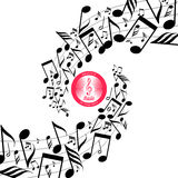 Messy scattered music notes on stave Royalty Free Stock Images