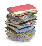 Messy Stack Of Files. Large Stack Of Messy Files Isolated on White Background Stock Photography