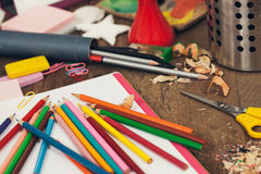Messy Student's Desk Royalty Free Stock Photography