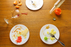 Messy table after party. Royalty Free Stock Photo