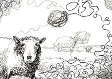 Messy thread and sheep drawing Royalty Free Stock Photos
