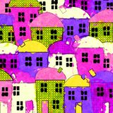 Messy Village Painting Royalty Free Stock Images