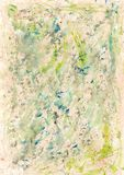 Messy Watercolor Background. A gestural abstract painting suitable for use as background with beige, green and yellow. Spontaneous, stained effect. Hand painted Royalty Free Stock Photography
