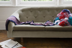Messy Wool Threads On Sofa Royalty Free Stock Images