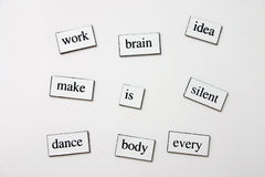 Messy words. Messy word magnets on the fridge Royalty Free Stock Photo