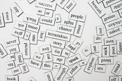 Messy words. Messy word magnets on the fridge Stock Photos