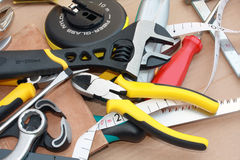 Messy work tools Stock Photo