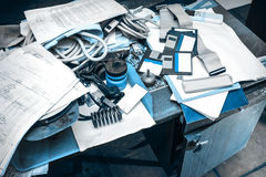 Messy workplace with paper on table Royalty Free Stock Images