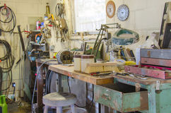 Messy workshop with many types of tools Royalty Free Stock Photography