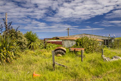 Messy Yard at a Rural Farm in New Zealand Stock Photo
