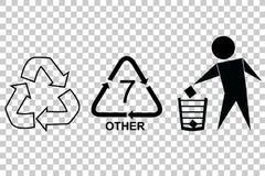 Mest berömt tecken på förbrukningsartikelprodukten: Snittet här, återanvänder, skräpar ner inte och återanvänder kod sju Arkivfoton